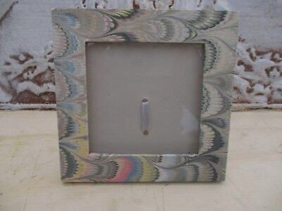 Delicious Vtg Il Papiro Art Deco Look Hand Marbelized Peacock Designs Picture Frame Italy Antiques