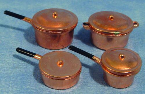 Cacerola//olla de cobre conjunto de cuatro para Casa de Muñecas 1; 12TH *** *** GASTOS DE ENVÍO GRATIS