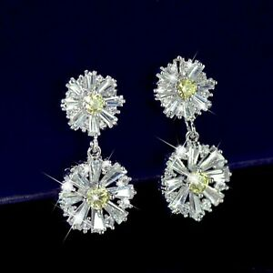18k-white-gold-made-with-SWAROVSKI-crystal-stud-earrings-flower-daisy-925-pin
