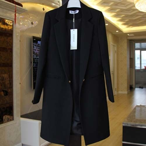 9 Colors Womens Korean One Button Lapel Collar Slim Fit Jacket Coat Trench Tops