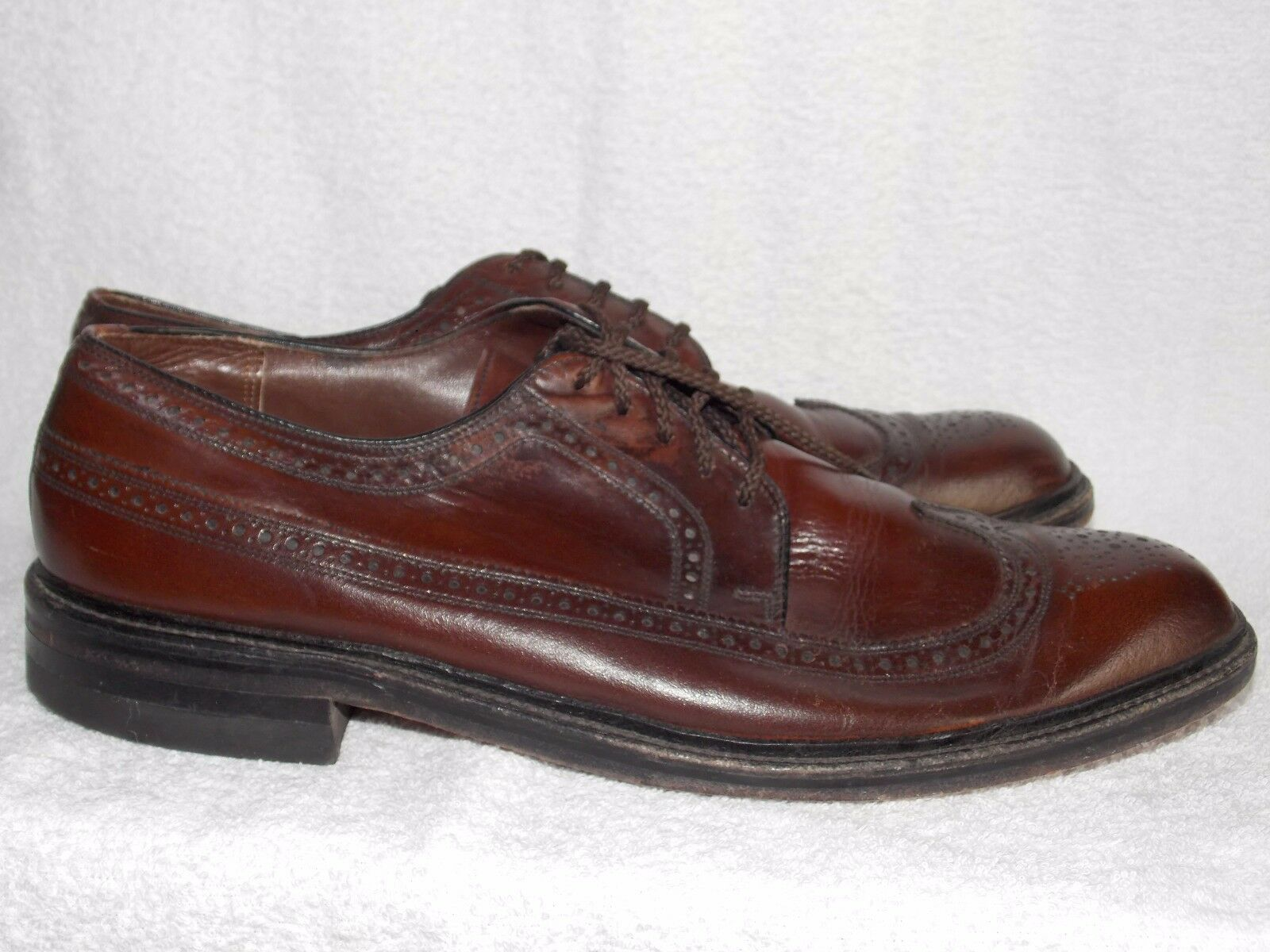 Freeman Brown WINGTIP Pelle Shoes 12A For Uomo Used