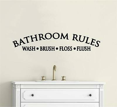 Bathroom Rules Wall Decor Vinyl Decal Wall Sticker Words Lettering Wall Art