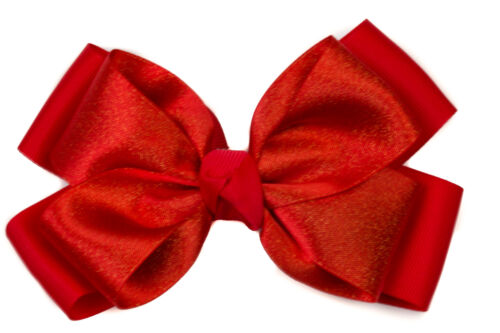Ladies Girls Red Large Hair Bow Sparkly Ribbon Centre Bow on  Beak Hair  clip