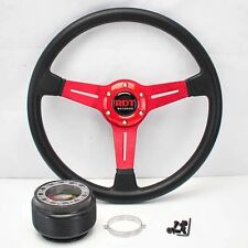 "RED 14"" STEERING WHEEL +HUB ADAPTER 01-12 CIVIC SCION tC 98-02 ACCORD 02-05 RSX"