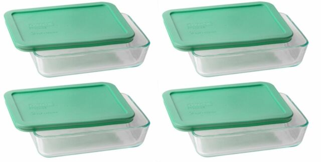 Pyrex 3 Cup Rectangle Glass Food Storage Set Container (Pack Of 4  Containers)