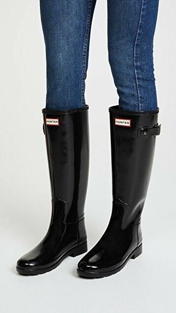 165 HUNTER BOOTS ORIGINAL GLOSSY RAIN BOOTS SIZE 5 US    3 UK BLACK