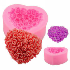 3D Love Roses Heart-shaped Silicone Mold Fondant Cake Baking Soap Mould Pink