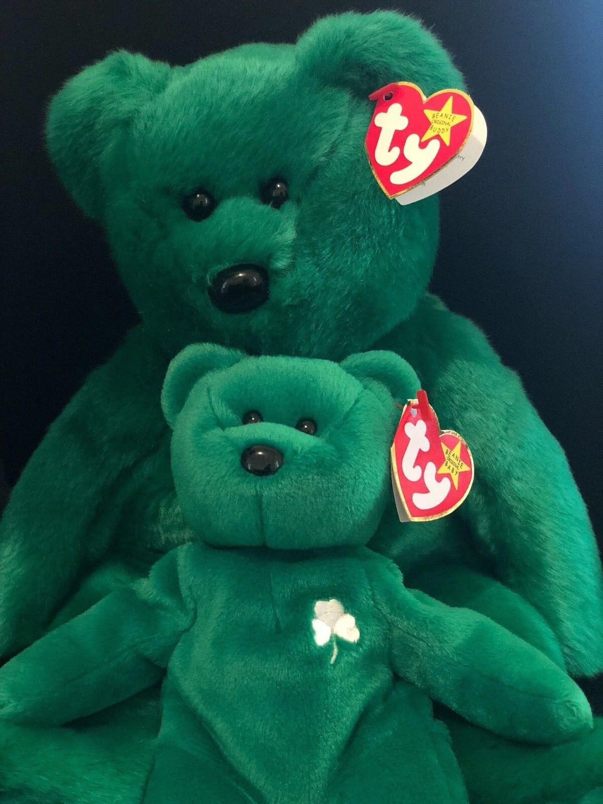 NEW 1997 Ty Beanie Baby Erin Retired NWT Errors Comes with Large and Small Bear