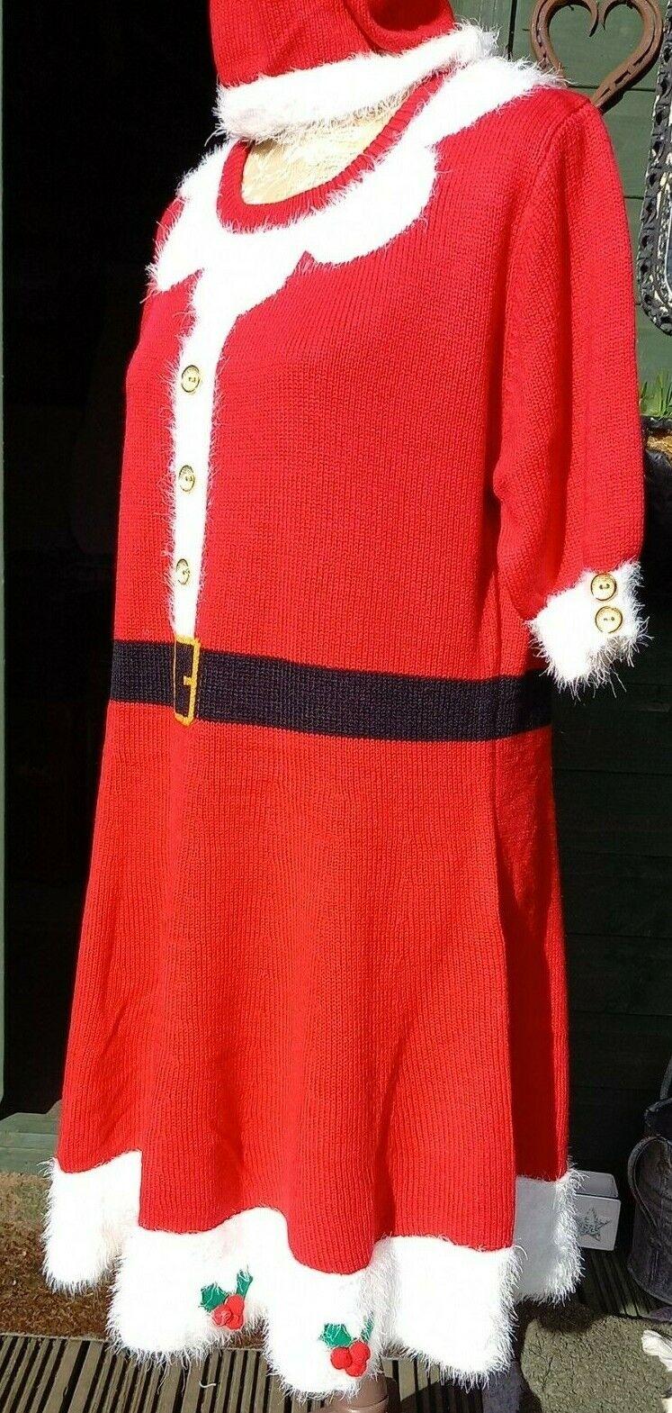 PRIMARK Mrs. Santa Scarlet Knit Dress with Detachable Hood/Hat BNWT size L 14/16