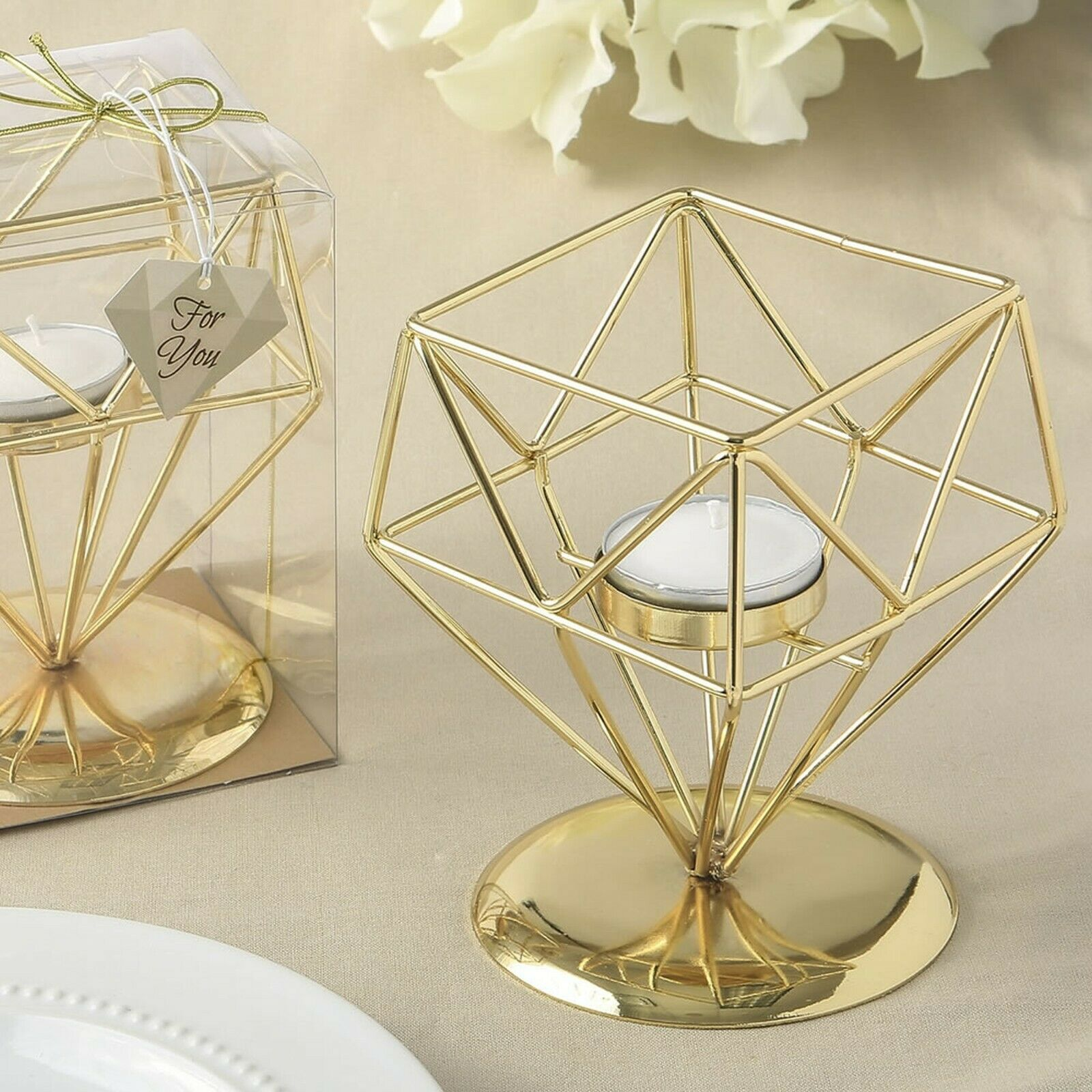 Diamond Gold Geometric Candle Holder Wedding Table Decor Party Favor Mw70053 For Sale Online Ebay