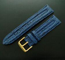 FINE Men's 20mm Regular Length Blue Chronograph Shark Skin Watch Band / Strap