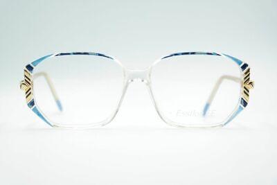 Vintage Essilor Ee Mod. 550 Col. 024 57[]18 130 Blau Gold Eckig Brille Nos
