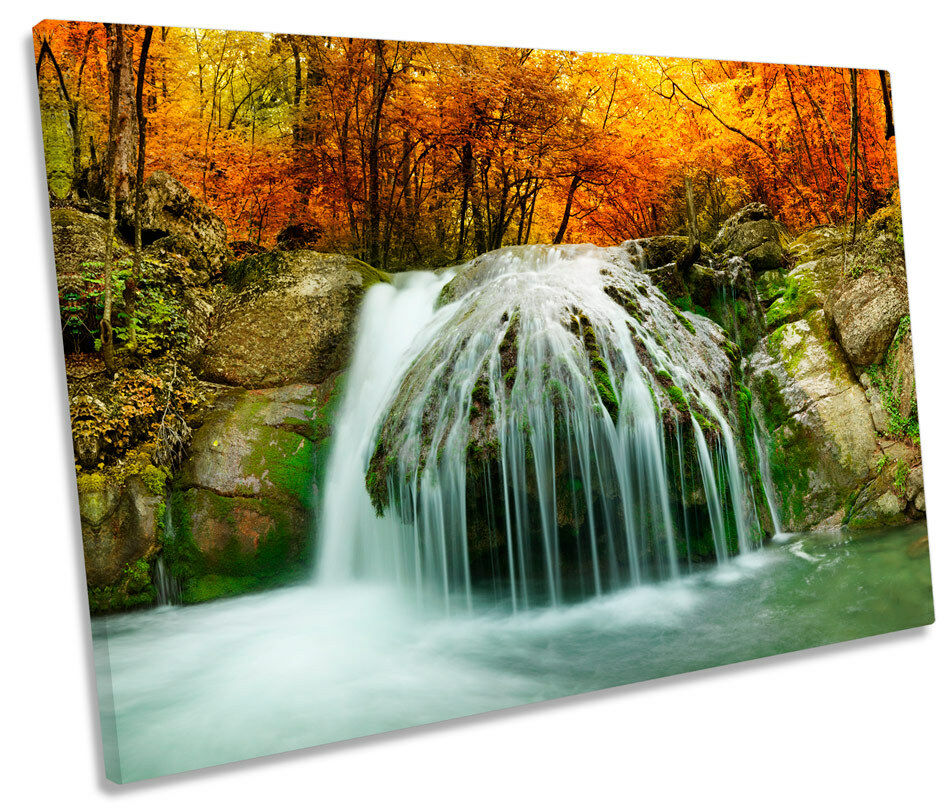 Forest Landscape Waterfall River SINGLE CANVAS WALL ART Framed Print