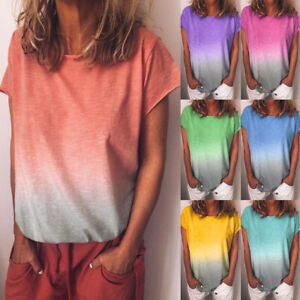 Womens-Printed-Holiday-Ombre-Ladies-Shirt-Short-Sleeve-Blouse-Loose-Tee-Tops