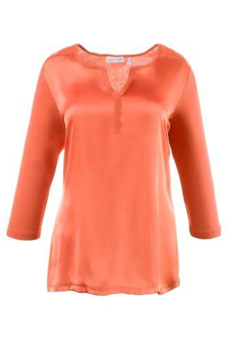 Gina Laura Shirt Webeinsatz 3//4 Arm orange NEU