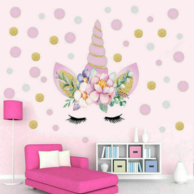 Unicorn Flower Dot Art Wall Sticker Girls Bedroom Kids Nursery Decal Home  Decor