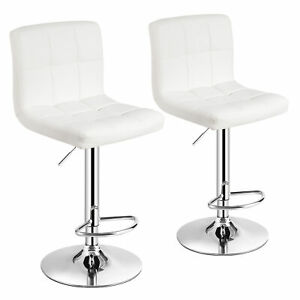 Costway Set of 2 Adjustable Bar Stools PU Leather Swivel Kitchen Counter Pub
