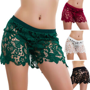 Pantaloncini-donna-shorts-PIZZO-ricamo-elastico-hot-pants-mare-piscina-V16021