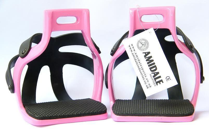 AMIDALE ALUMINIUM ENDURANCE FLEX RIDE CAGED SAFETY HORSE STIRRUPS PINK 4.75
