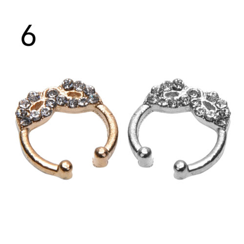Fake Septum Clicker Crystal Nose Ring Non Piercing Hanger Clip On Jewell dx55BB5