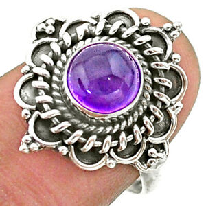 925 Sterling Silver 2.53cts Solitaire Natural Purple Amethyst Ring Size 7 T41390