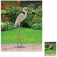 Large Egret Bird Stand Statue Figurine Display Decor Garden Yard Art Patio Lawn