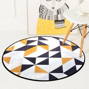 Luxe Geometrique Rond Tapis Moutarde Blanc Europeen Theme Anti