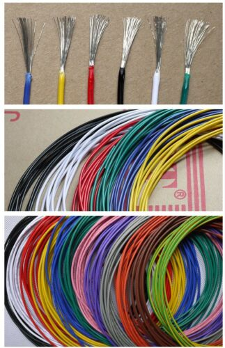 24AWG OD/_1.4mm UL1007 PVC Tinned Copper Stranded Wire Cable Cord 300V 2M//10M
