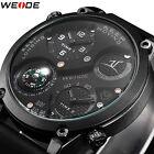 New Weide Mens Fashion Silicone Strap Compass Alloy 3ATM Army Quartz Wrist Watch