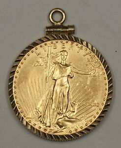 1990 10 Dollar Age Coin Jewelry In Solid 14k Gold Bezel