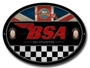 BSA B25 STARFIRE OVAL METAL SIGN.OFFICIALLY LICENSED B.S.A PRODUCT. &™ BSA