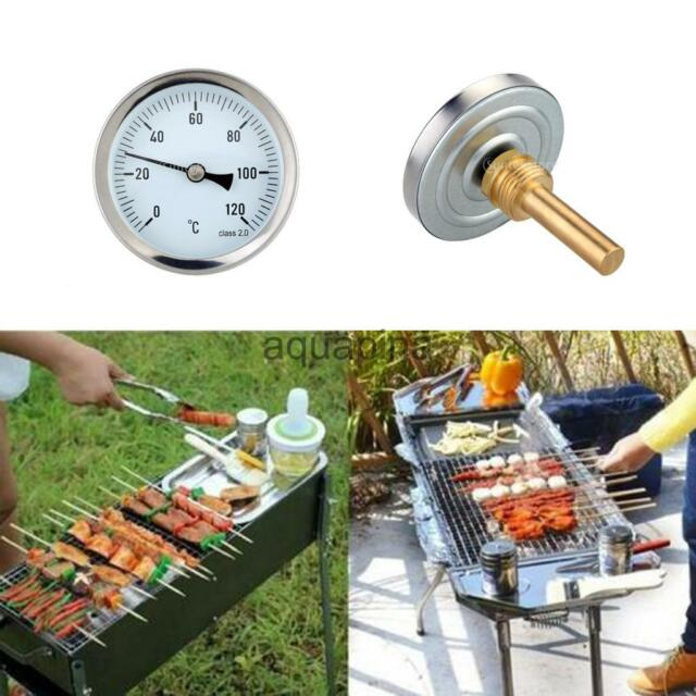 63mm 0-120°C Stainless Barbecue BBQ Smoker Grill Gauge Oven Pit Thermometer