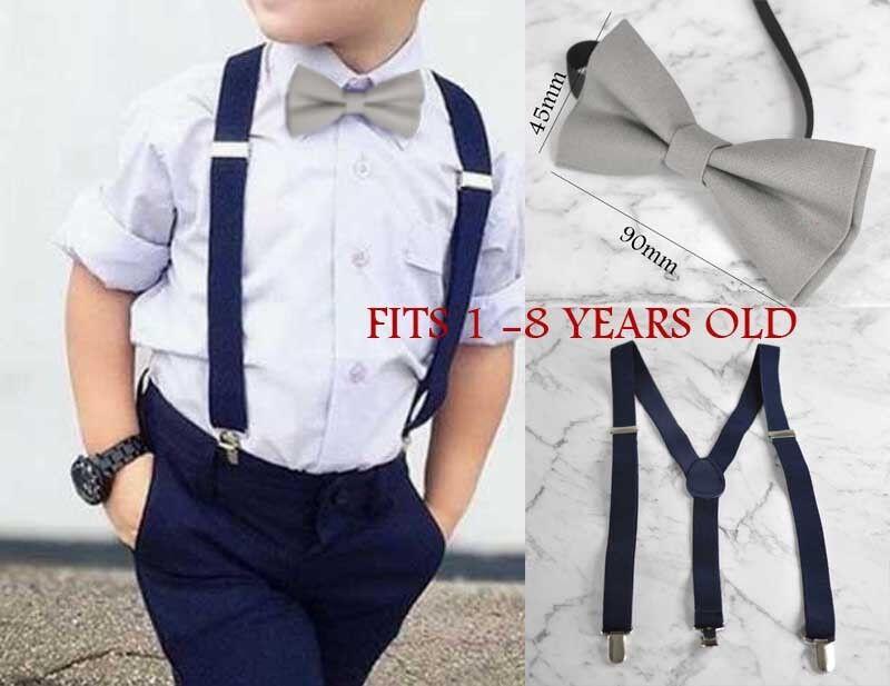 77517ac5cd03 Baby BOY KIDS GREY Bow Tie Navy Blue Braces Elastic Suspenders 1-8 ...