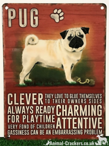 20cm-metal-vintage-style-Pug-lover-gift-breed-characteristics-hang-sign-plaque