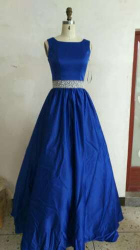 Elegant Royal Blue Beaded Belt With Train Long Prom Dress Pageant Gown New 0,2,4