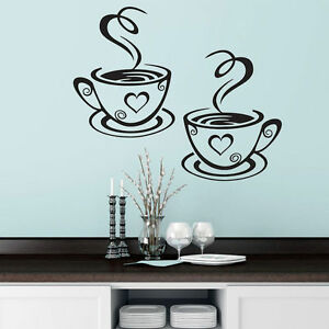 Taza-de-Cafe-Te-Etiquetas-de-pared-Arte-Vinilo-Decoracion-Cocina-Restaurante