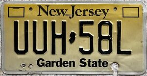GENUINE-American-New-Jersey-Yellow-Fade-USA-License-Licence-Number-Plate-UUH-58L
