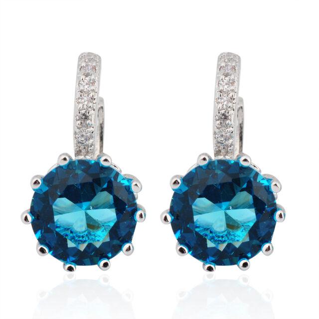 Jewelry New Blue Aquamarine Crystal Drop/Dangle Earrings White Gold Wedding Gift