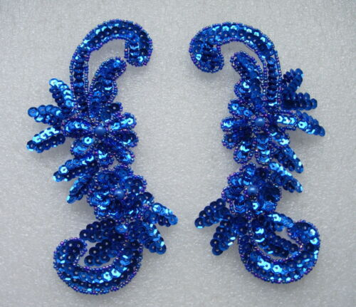 LR48 Miroir Paire Floral l/&r Sequin Beaded Appliques Sew Sur Motif Bleu Royal