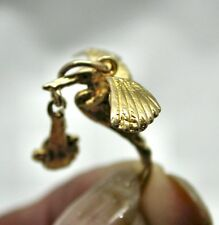 Lovely 9ct Gold Stork With Baby Charm