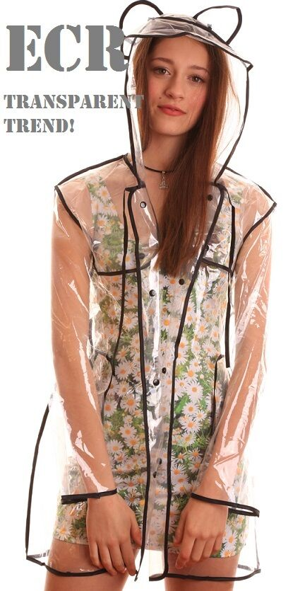 NEW Transparent Clear Womens Girls Rain Coat Ears Festival Camping Raincoat Mac