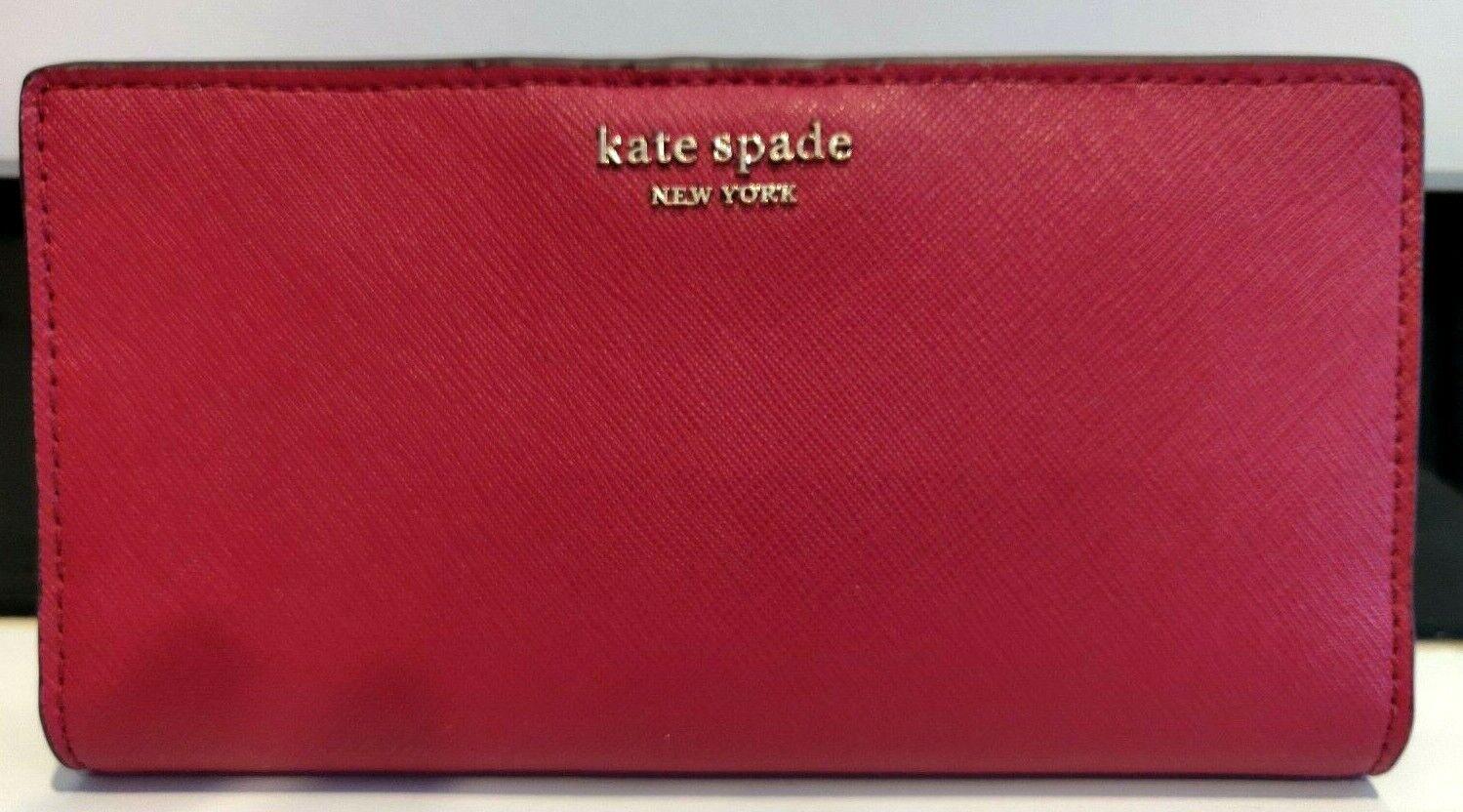 * TEST Cameron Lg Slim Bifold Wallet Cherry Red Leather WLRU5444 NWT FS
