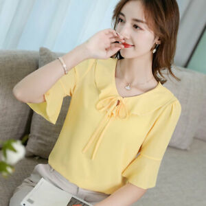 Fashion-T-Shirt-Chiffon-Short-Sleeve-Blouse-Summer-Ladies-Shirt-Loose-Top-Women