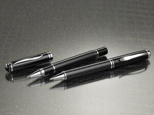 Duvence 2er-Set: Tintenroller & -Kugelschreibe<wbr/>r in 3D-Carbon-Opti<wbr/>k + Geschenkbox