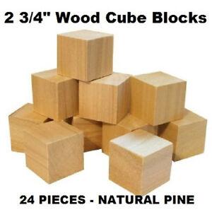 inch cubes natural wood toy building blocks made in usa set of 24 ebay. Black Bedroom Furniture Sets. Home Design Ideas