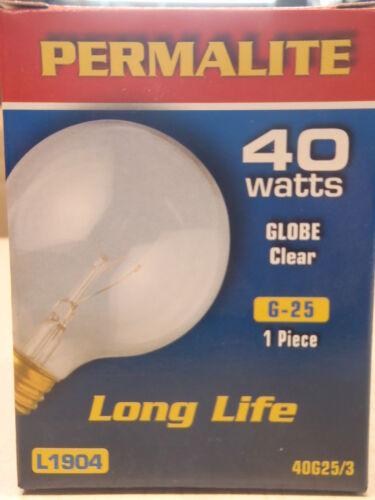 L1904 Permalite G-25 Clear Globe 40W 130V Light Bulb