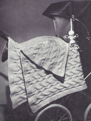 Vintage Knitting PATTERN to make Knitted Baby Afghan Carriage Blanket Cable