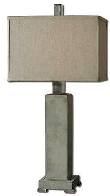 Contemporary Designer CONCRETE Stone Table Lamp Modern Gray Silver Industrial