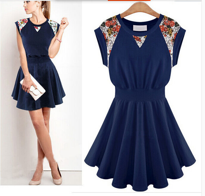 Élégant Suit dress short - with tiered skirt folds bluee 3020
