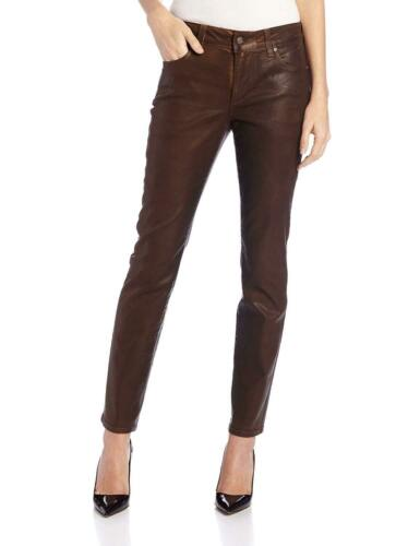 NWT NYDJ Not Your Daughters Jeans COATED TERRA TAN HIDE TTAN Skinny Petite Pants